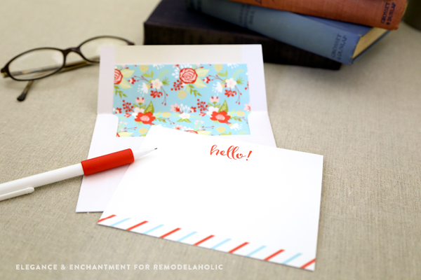 Free Printable Note Cards // Set of four colorful flat cards // Designed by Elegance & Enchantment for Remodelaholic