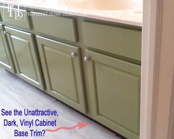 Provident Home Design painted bathroom base trim to update vanity cabinet via @Remodelaholic