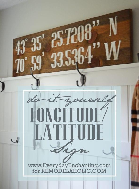 DIY Reclaimed Longitude/Latitude Sign