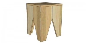 Small stool with triangle feature