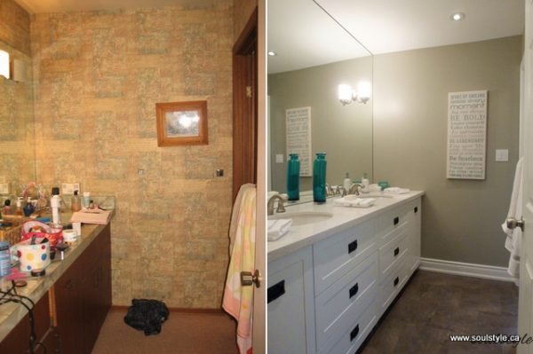 Soul Style bathroom makeover white vanity on @Remodelaholic