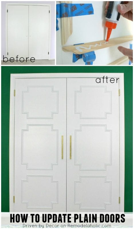 Update plain doors using just molding - Driven by Decor on @Remodelaholic