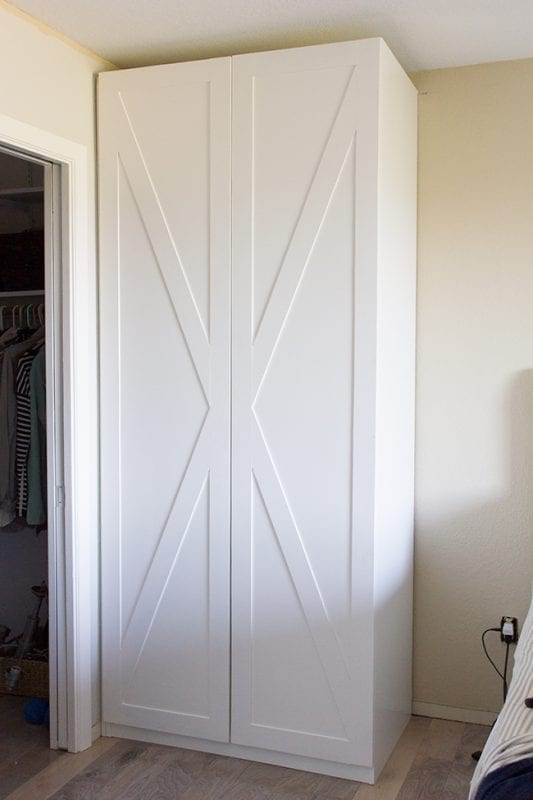 barn door style IKEA pax wardrobe hack - Jenna Sue Designs