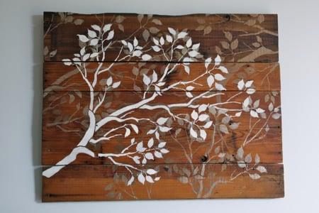 barnwood stenciled wall art