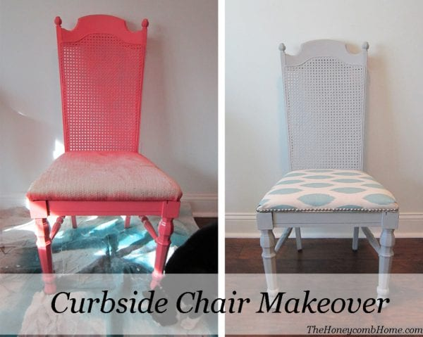 before and after caning chair makeover - The Honeycomb Home on @Remodelaholic