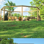 Build Your Own Backyard Pergola Swing Set Around Fire Pit, Tutorial And Plans, LWHBlog On Remodelaholic