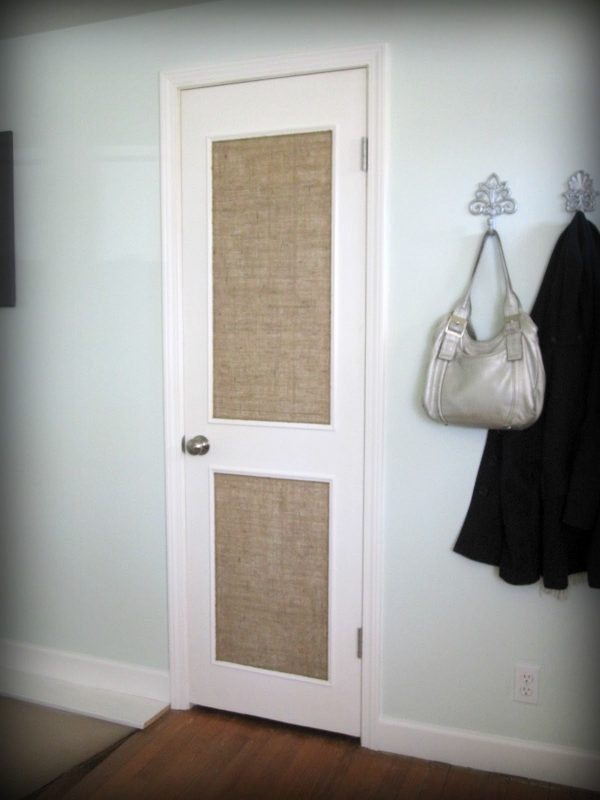 burlap paneled door - Beautifully Contained