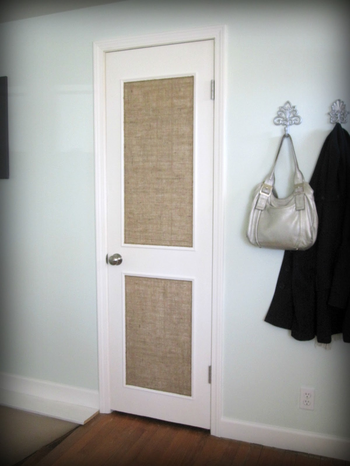 Burlap Paneled Door   Beautifully Contained