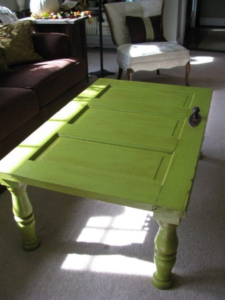 Remodelaholic 100 ways to use old doors - Make a table from an old door ...