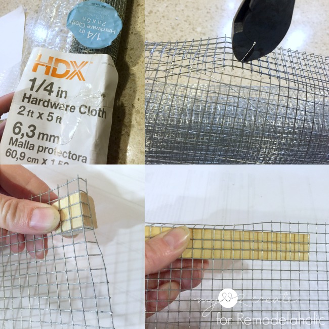 cutting and bending hardware cloth to make earring holder