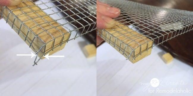 cutting edges of bent hardware cloth