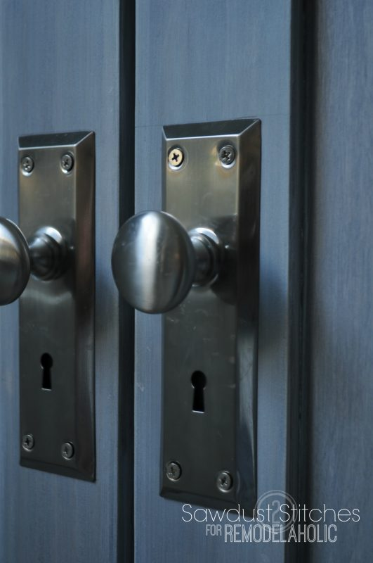 use inexpensive door escutcheon plates with low-priced oversized knobs to get a classic look that costs a lot less!