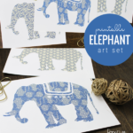 Elephant Printable Art Set For Nursery Baby Shower Home Office, Indigo Blue Batik Fabric Inspired Art, Paperelli For Remodelaholic