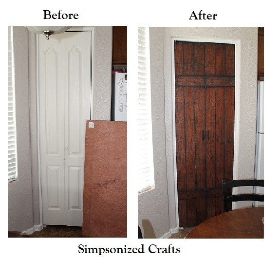 faux barn door overlay on paneled door - Simpsonized crafts