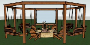 feature full render of the diy pergola with firepit, chairs, and swings - DIY tutorial Little White House Blog on @Remodelaholic