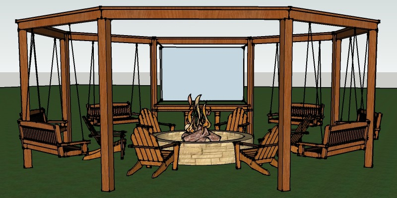 Remodelaholic | Tutorial: Build an Amazing DIY Pergola and Firepit with  Swings - Remodelaholic Tutorial: Build An Amazing DIY Pergola And Firepit