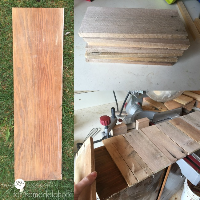 fitting pallet wood onto scrap plywood to make rustic jewelry holder