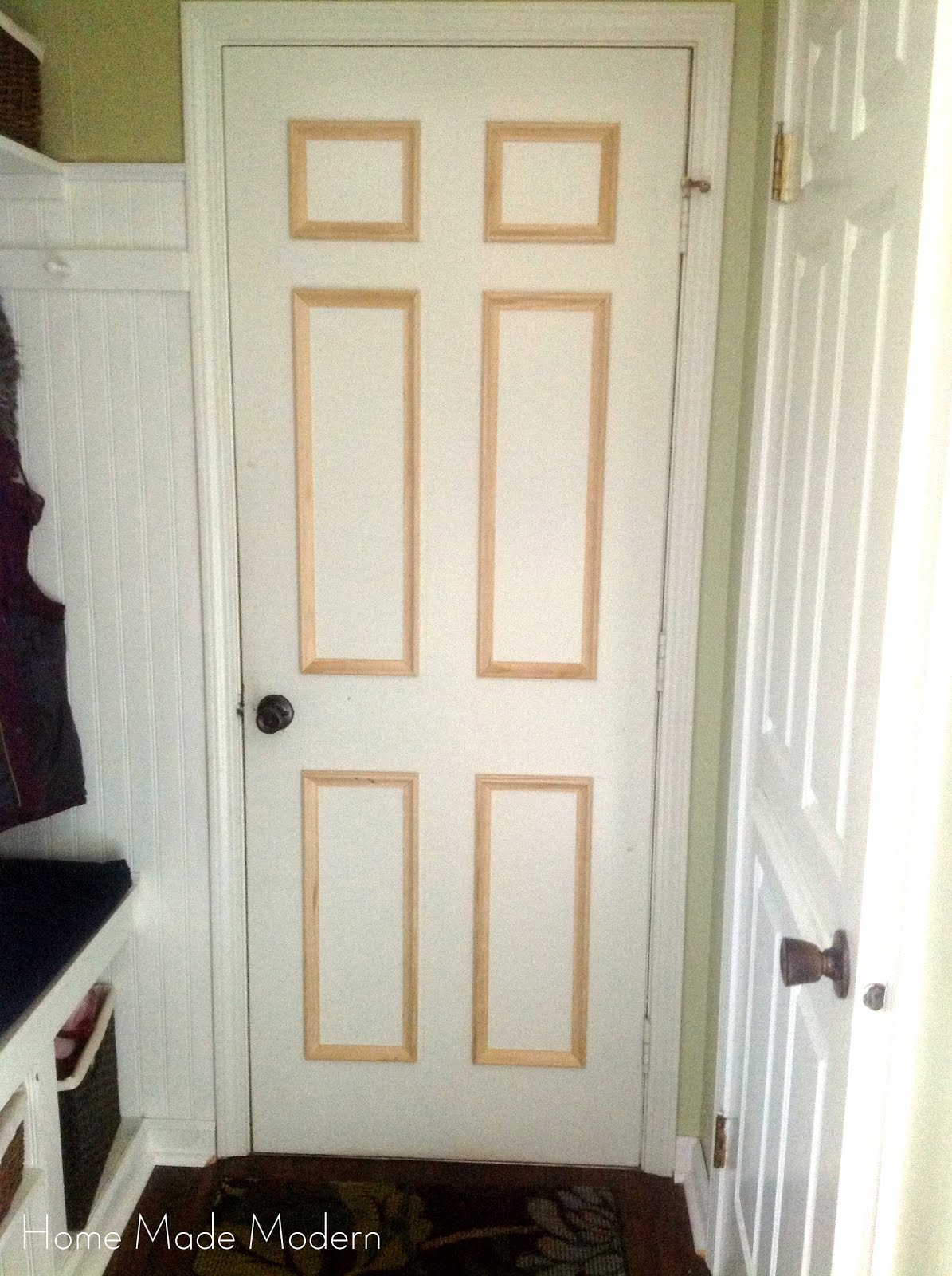 flat to traditional raised panel door - Home Made Modern & Remodelaholic | 40+ Ways to Update Flat Doors and Bifold Doors pezcame.com