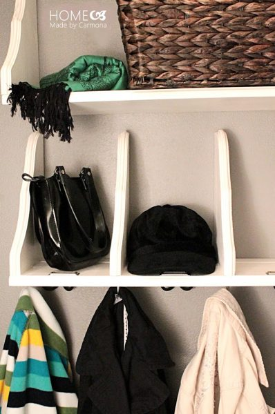 Is your coat closet small and cluttered? Turn your messy coat closet into an organized space with the help of these 11 coat closet ideas! Shoe cubbies for organization. 11 Ways to Upgrade Your Coat Closet via @remodelaholic #coatcloset #organize #closet #closets #diy