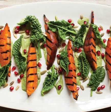 Grilled Sweet Potatoes with Avocado Pipian
