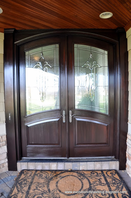 front door refinished with gel stain - Evolution of Style Blog