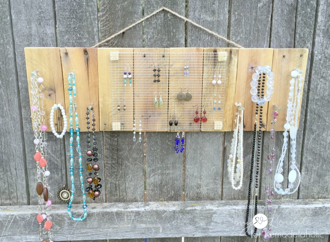 front view of rustic pallet jewelry holder