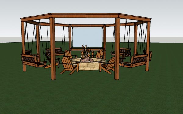 full render of the diy pergola with firepit, chairs, and swings - DIY  tutorial - Remodelaholic Tutorial: Build An Amazing DIY Pergola And Firepit