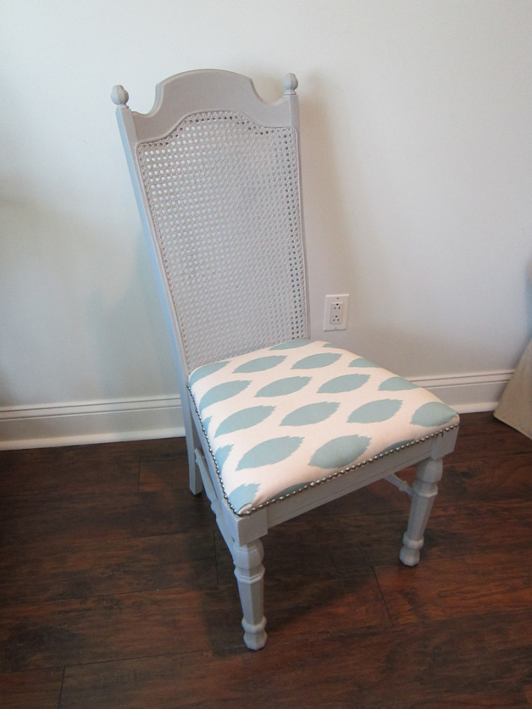 Cane Back Dining Chair Makeover Gray Painte