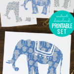 Indigo Blue Elephant Printable Art Set, Instant Download 3 Sizes, Remodelaholic