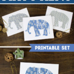 Indigo Blue Elephant Printable Wall Art Set, Paperelli For Remodelaholic