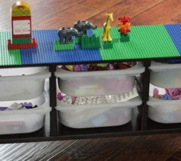 GENIUS! Easy, DIY lego table using a basic Ikea storage piece. Full tutorial by Designer Trapped in a Lawyer's Body for Remodelaholic.com!