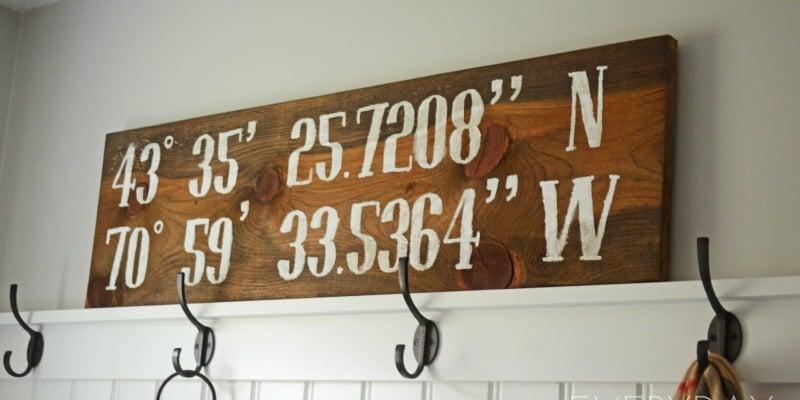 Remodelaholic | DIY Reclaimed Wood Longitude-Latitude Sign