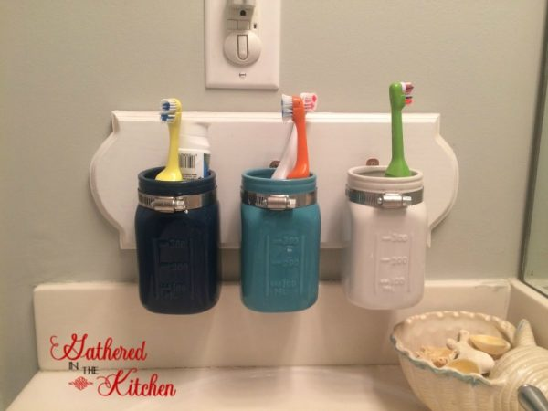 painted projects - mason jar toothbrush bathroom organizer Gathered in the Kitchen