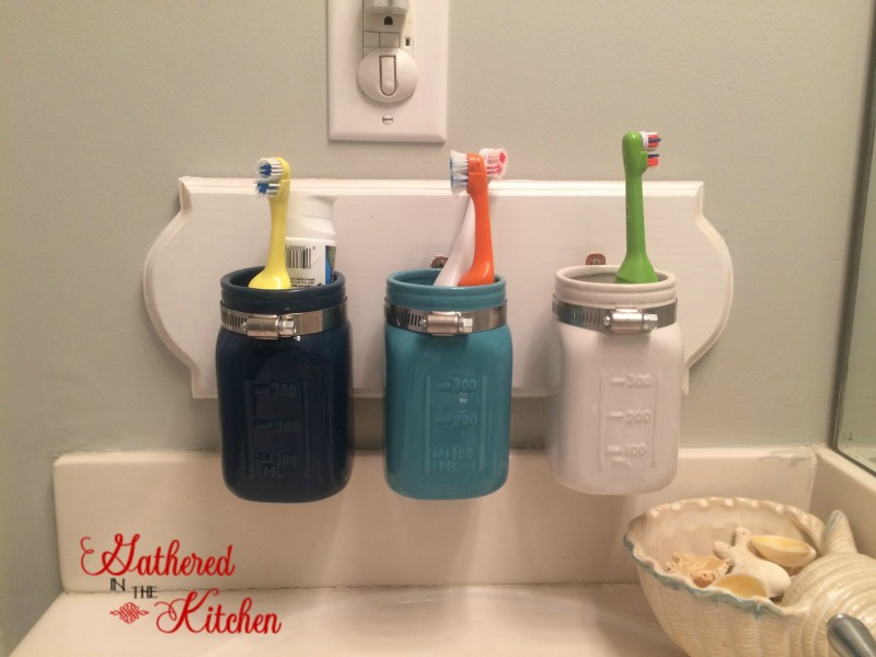 Good painted projects mason jar toothbrush bathroom organizer Gathered in the Kitchen