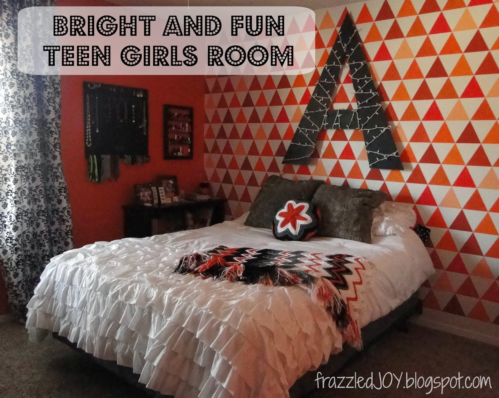 painted projects triangle accent wall in teen girls room Frazzled Joy
