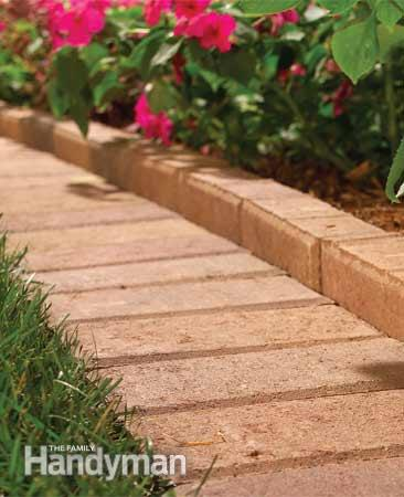 The Family Handyman Pretty Brick Pavers for a garden edging featured on Remodelaholic.com