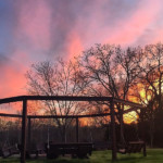 Pergola Swing Set Around Fire Pit At Sunset, DIY Pergola Plans And Tutorial LWHBlog For Remodelaholic
