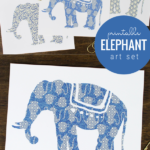 Printable Elephant Art Set In Indigo Blue And Gray Batik Fabric Inspired For Nursery Or Office, Paperelli For Remodelaholic