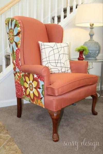 reupholstered wingback chair via @Remodelaholic