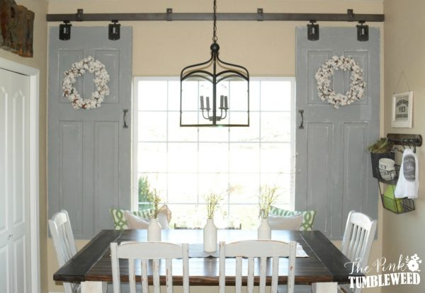 sliding barn door window treatment - The Pink Tumbleweed