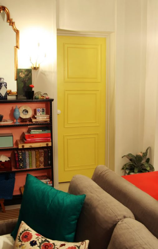 yellow square paneled door from flat door - Little Green Notebook