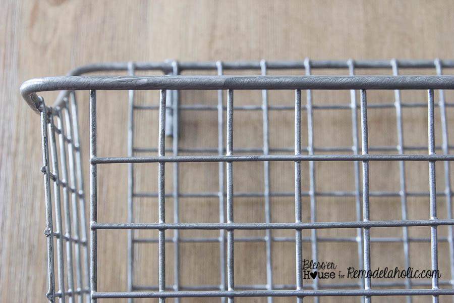 DIY Locker Basket Mail Organizer -- just use paint to age brand new wire baskets