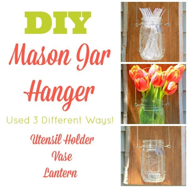 Make your own mason jar hanger for under $20. It's a great decorative accent for indoors or outdoors, and it can function as a vase, utensil holder, lantern and more!