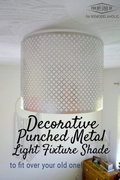 Decorative Punched Metal Light Fixture Shade that fits over an existing light fixture - no electricity involved!