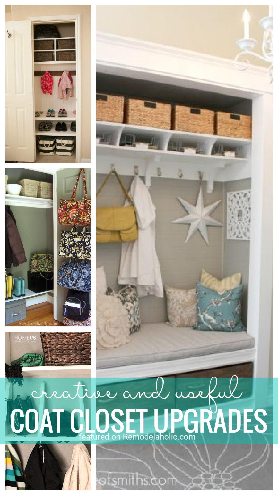 Get The Most Out Of A Small Closet With These Awesome Creative Coat Closet Upgrades That Maximize Space Featured On Remodelaholic.com