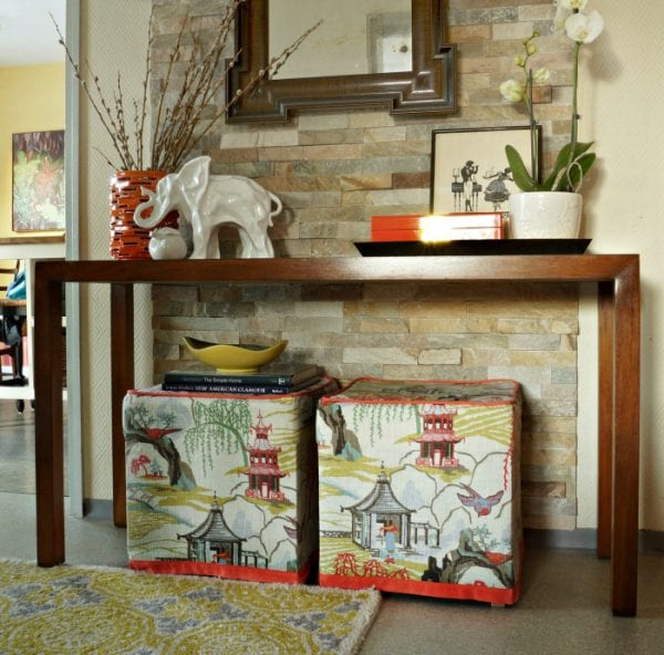 IKEA ottoman footstools recovered in neo toile - Maggie Overby Studios