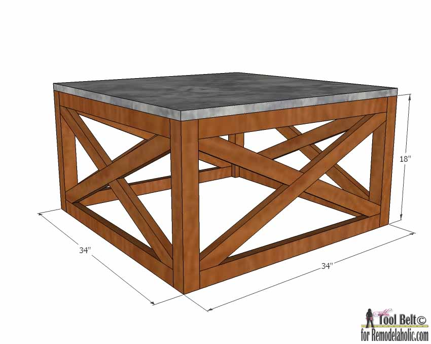 Remodelaholic Build An Outdoor Coffee Table With X Base