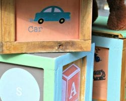 alphabet block table and storage stools feature