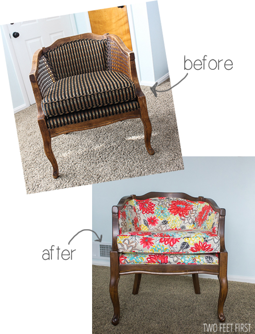 before and after barrel chair makeover Two Feet First