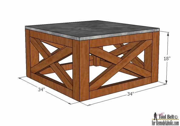 How to Build an Outdoor Coffee Table with X Base. SIMPLE VERSION (using  pocket holes and readily available lumber sizes)